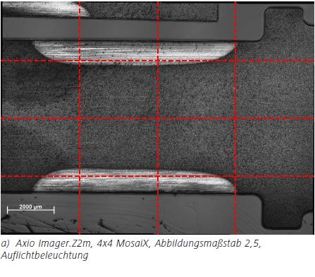Abbildung 3a a) Axio Imager.Z2m, 4x4 MosaiX, Abbildungsmaßstab 2,5, Auflichtbeleuchtung