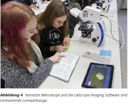 Abbildung 4 Vernetzte Mikroskope und die Labscope Imaging Software sind motivierende Lernwerkzeuge.