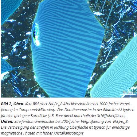 Unten: Streifendomänenmuster bei 200-facher Vergrößerung von Nd2Fe14B. Die Verzweigung der Streifen in Richtung Oberfläche ist typisch für einachsige magnetische Phasen mit hoher Kristallanisotropie