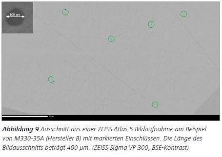 Abbildung 9 Ausschnitt aus einer ZEISS Atlas 5 Bildaufnahme am Beispiel von M330-35A (Hersteller B) mit markierten Einschlüssen. Die Länge des Bildausschnitts beträgt 400 μm. (ZEISS Sigma VP 300, BSE-Kontrast)