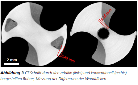 Abbildung 3 CT-Schnitt durch den additiv (links) und konventionell (rechts) hergestellten Bohrer, Messung der Differenzen der Wanddicken