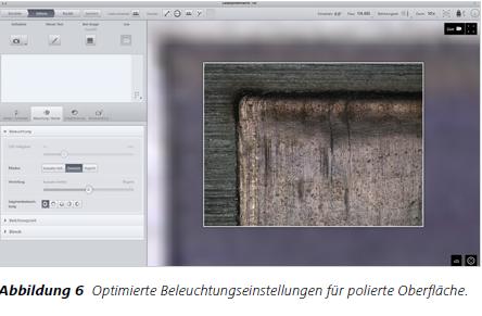 Abbildung 6 Optimierte Beleuchtungseinstellungen für polierte Oberfläche