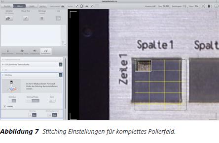 Abbildung 7 Stitching Einstellungen für komplettes Polierfeld