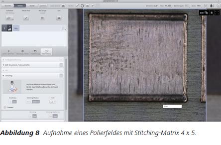 Abbildung 8 Aufnahme eines Polierfeldes mit Stitching-Matrix 4 x 5.
