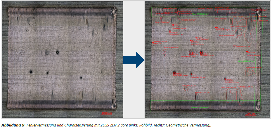 Abbildung 9 Fehlervermessung und Charakterisierung mit ZEISS ZEN 2 core (links: Rohbild, rechts: Geometrische Vermessung).