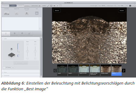 """Abbildung 6 Einstellen der Beleuchtung mit Belichtungsvorschlägen durch die Funktion """"Best Image"""""""