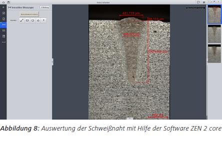 Abbildung 8 Auswertung der Schweißnaht mit Hilfe der Software ZEN 2 core