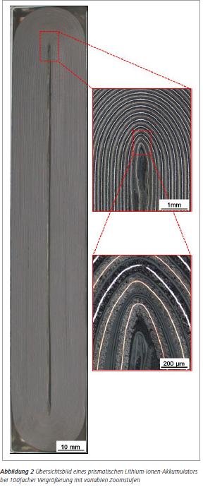 Abbildung 2 Übersichtsbild eines prismatischen Lithium-Ionen-Akkumulators bei 100facher Vergrößerung mit variablen Zoomstufen