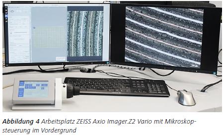 Abbildung 4 Arbeitsplatz ZEISS Axio Imager.Z2 Vario mit Mikroskopsteuerung im Vordergrund