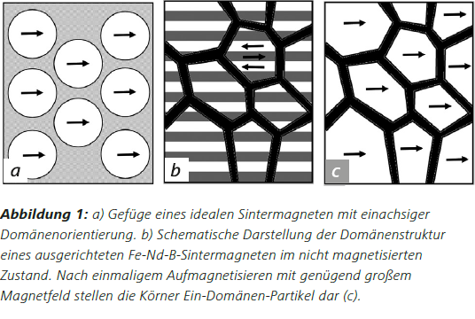 Abbildung1 a) Gefüge eines idealen Sintermagneten mit einachsiger Domänenorientierung. b) Schematische Darstellung der Domänenstruktur eines ausgerichteten Fe-Nd-B-Sintermagneten im nicht magnetisierten Zustand. Nach einmaligem Aufmagnetisieren mit genügend gr