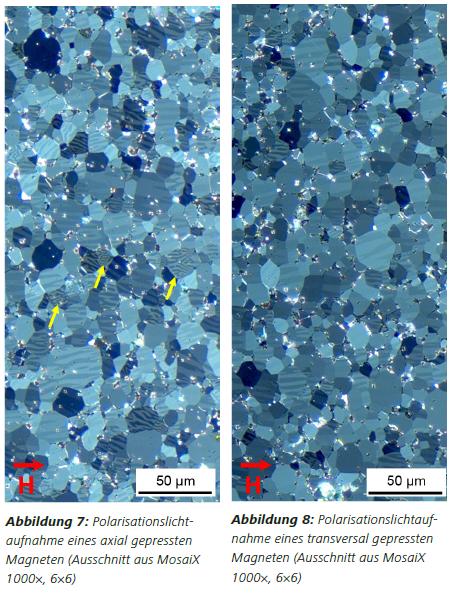 Abbildung Abbildung 7: Polarisationslichtaufnahme eines axial gepressten Magneten (Ausschnitt aus MosaiX 1000×, 6×6) Abbildung 8: Polarisationslichtaufnahme eines transversal gepressten Magneten (Ausschnitt aus MosaiX 1000×, 6×6)